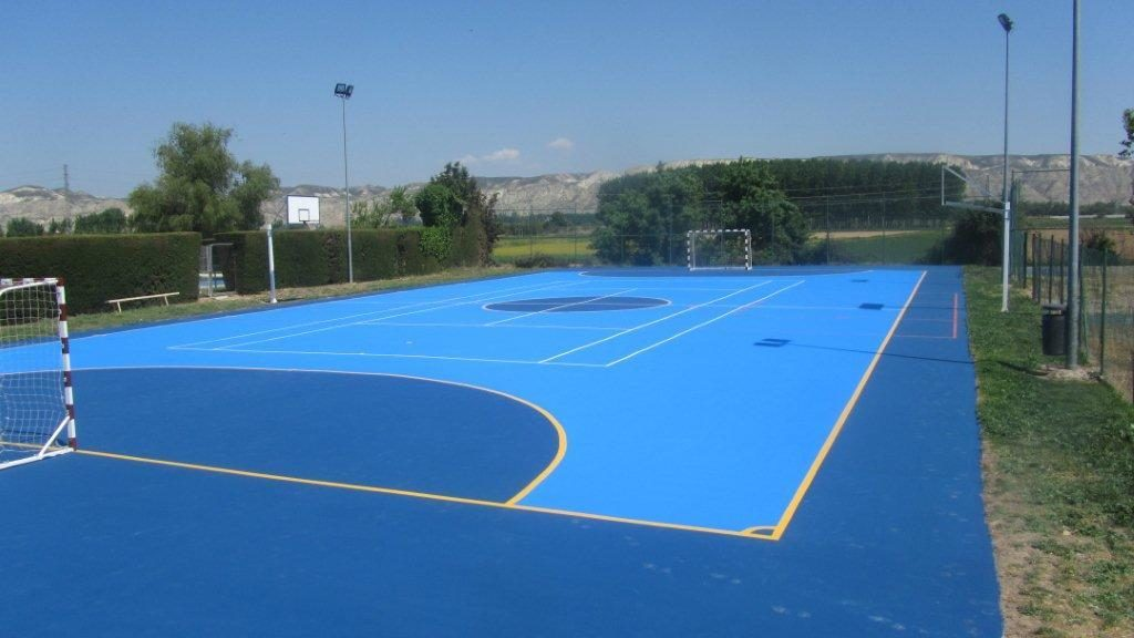 Obra pista polideportiva ayuntamiento de sobradiel for Pista de futbol sala medidas